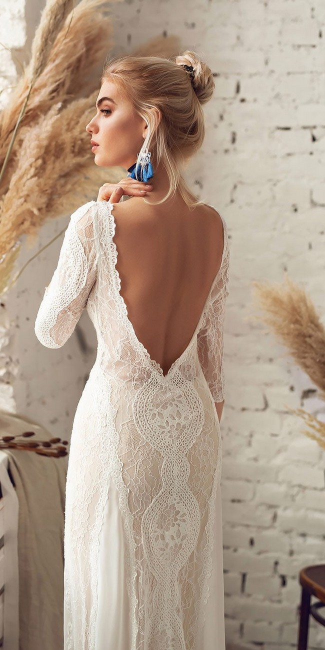 bohemian open back wedding dress with sleeves4