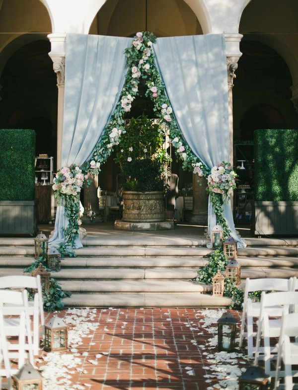 light blue and greenery outdoor wedding backdrop