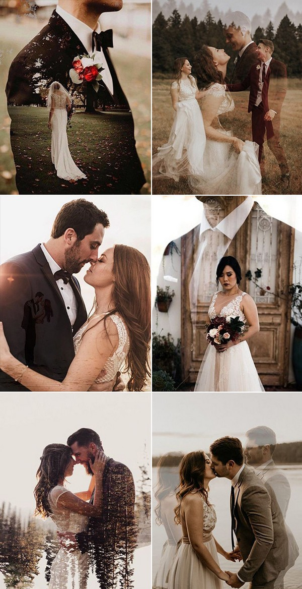 must have bride and groom double exposure wedding photo ideas