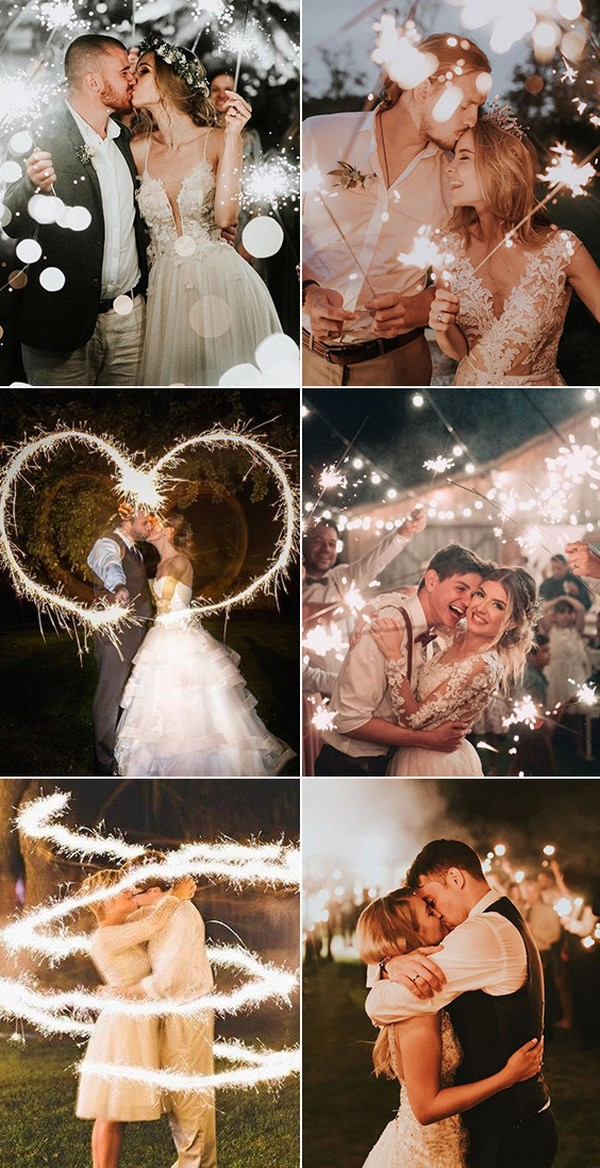 must have bride and groom wedding photo ideas with spark fireworks