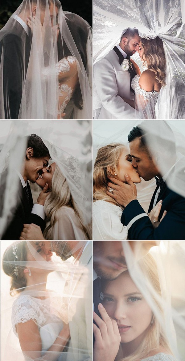 must have bride and groom wedding photo ideas with veils