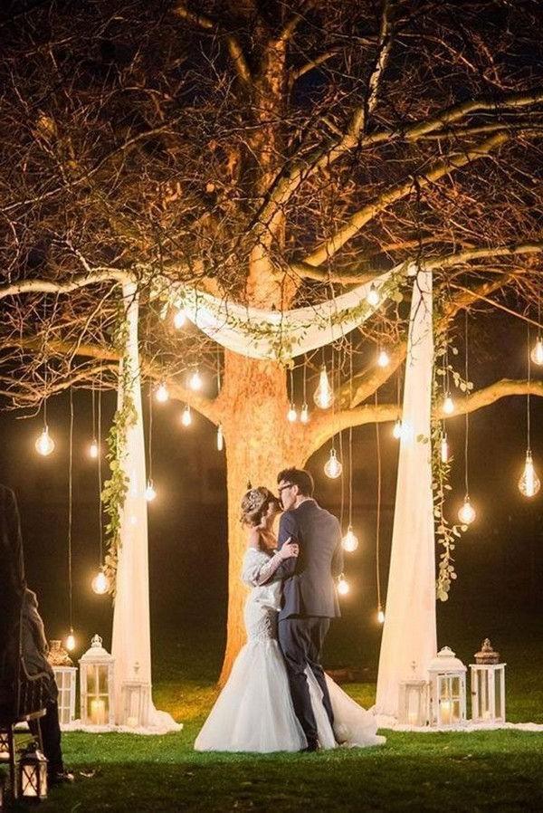 Night wedding ceremony aisle and backdrop ideas #wedding #weddingideas #weddinglights #weddingarches