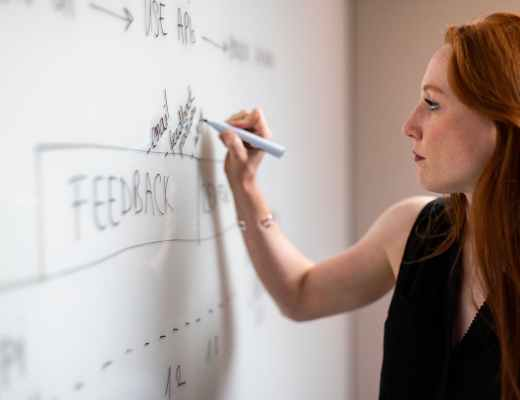 woman in black sleeveless top writing on whiteboard