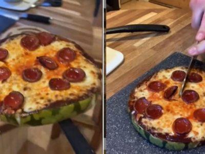 वायरल वीडियो में आदमी तरबूज पिज्जा बनाता है।  डोमिनोज ऑस्ट्रेलिया नुस्खा की कोशिश करता है