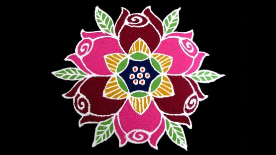 Simple New Year 2019 Rose Rangoli