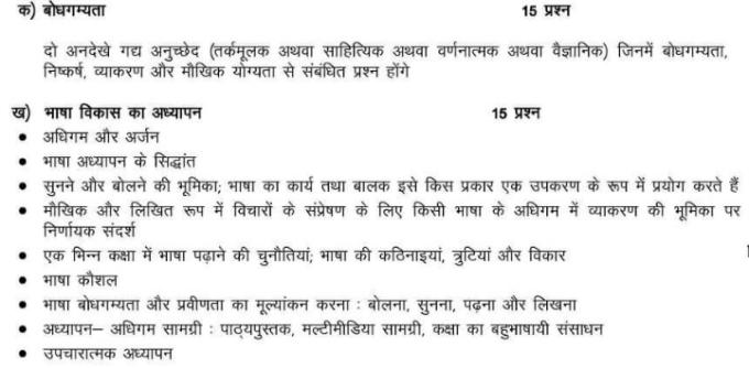 ctet Language II Compulsory syllabus hindi