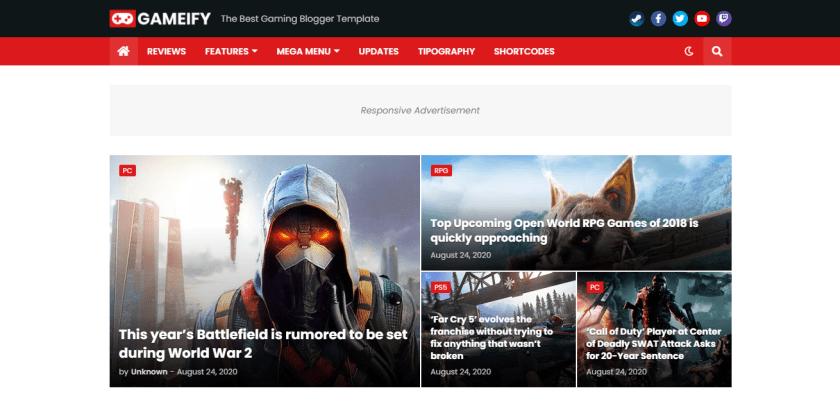 Gameify Blogger Templates