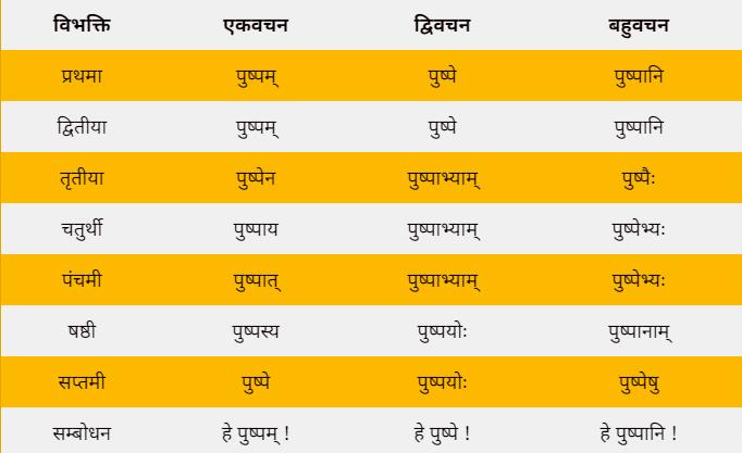 Pushp ka shabd roop in sanskrit