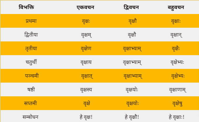 Vriksh shabd roop in Sanskrit