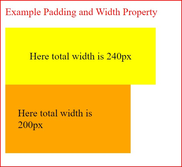 difference between padding and width property