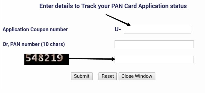 PAN status by coupan number