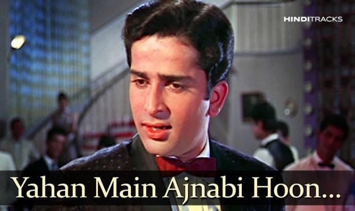 Yahan Main Ajnabee Hoon hindi lyrics