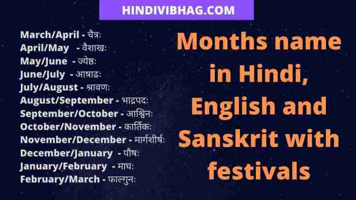 months name in hindi english and sanskrit with festivals