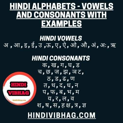 Hindi alphabets - Vowels and consonants with examples