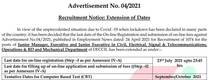 DFCCIL-Bharti-2021