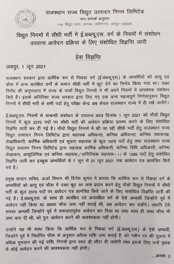 Rajasthan-JVVNL-Bharti-2021