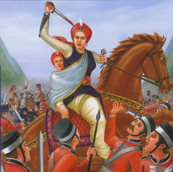 Jhansi Ki Rani in battle with her son on her back