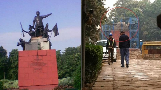 'Left : Statue of Netaji Bose' and 'Right : Statue of Netaji demolished'