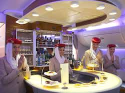 Air hostesses of Emirates airline welcome passengers inside the A380 aircraft for Delhi-Dubai flight. Airbus A380 arrives at T3