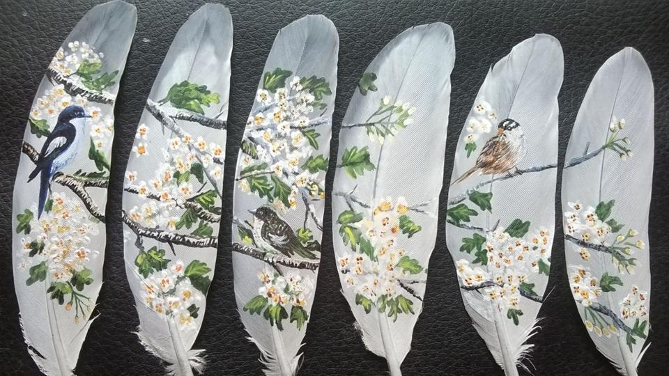 Artist Aditi Agarwal gives wings to her imagination on bird feathers. (Aditi Agarwal )