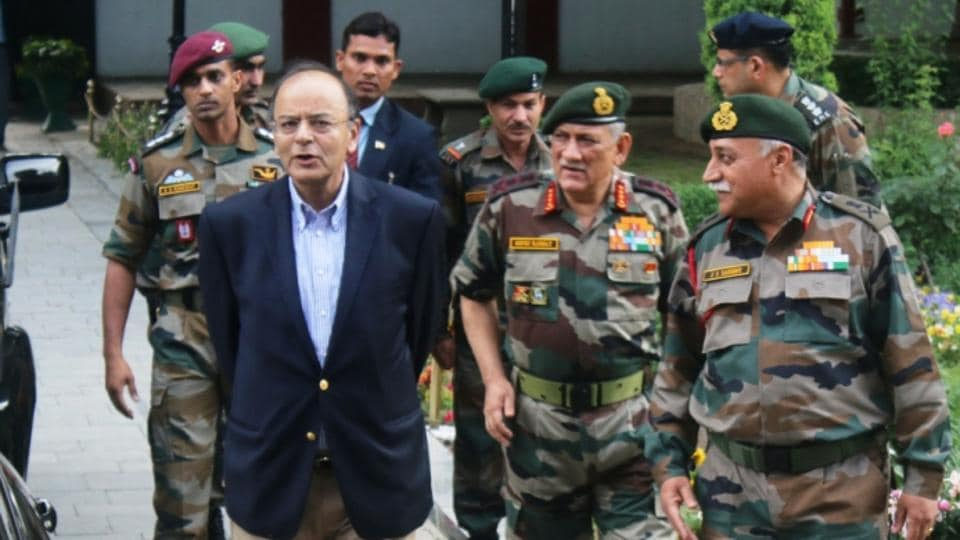 Image result for jaitley at military base -- pics