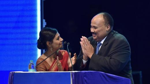Martin Luther King III , son of Martin Luther King with actor Nandita Das during Dr B R Ambedkar International Conference in Bengaluru on Friday.
