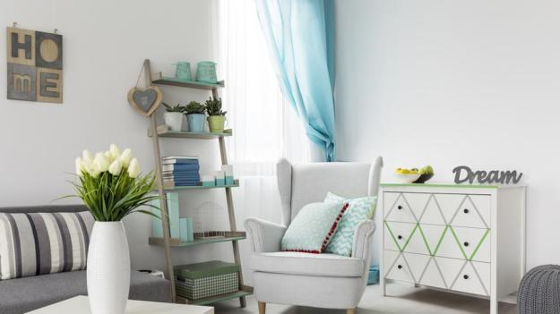 Change furnishing colours to vibrant tints and hues such as lime, mint, teal, sea and Persian green.