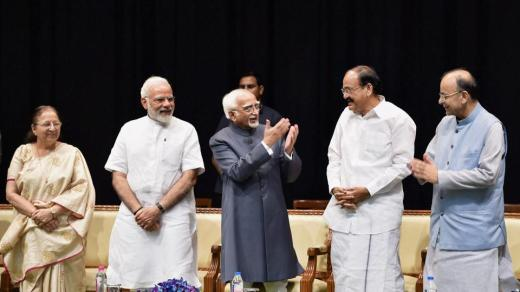 Outgoing vice president Hamid Ansari with vice president-designate M Venkaiah Naidu, Prime Minister Narendra Modi, Lok Sabha speaker Sumitra Mahajan and finance minister Arun Jaitley during his farewell function at GMC Balayogi Auditorium at Parliament in New Delhi on Thursday.