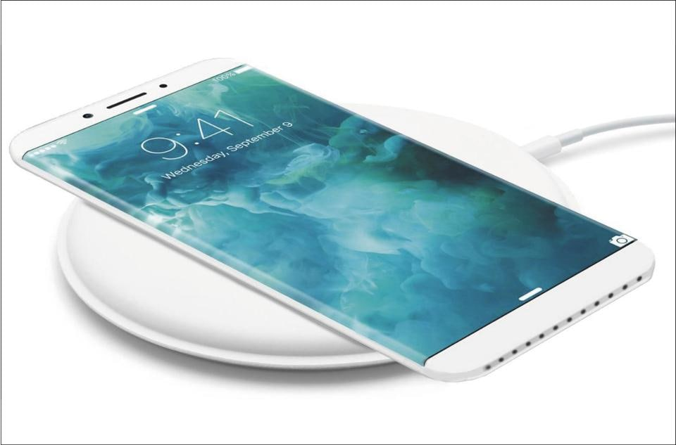 An artist's rendition of a widely circulated online picture of what the iPhone wireless charger may look like