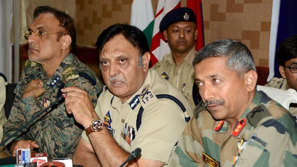 Inspector General of Jammu and Kashmir Police Munir Khan along with GOC Army Victor Force BS Raju and IG CRPF Ravindeep Sahi addressing a joint press conference regarding the killings of Amarnath attack mastermind and Lashkar-e-Taiba (LeT) Kashmir chief Abu Ismail and Chota Ismail in Srinagar on Thursday.