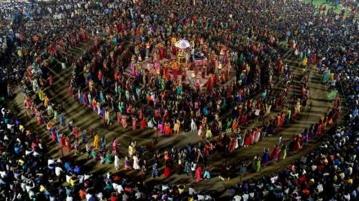 Hindu devotees perform Garba, a traditional folk dance, during the celebrations to mark the Navratri festival at Surat in Gujarat.