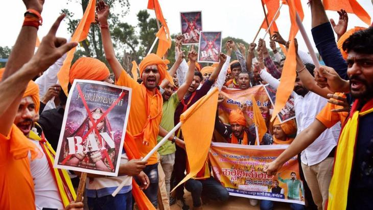 Karni Sena protesting against the release of Padmavati
