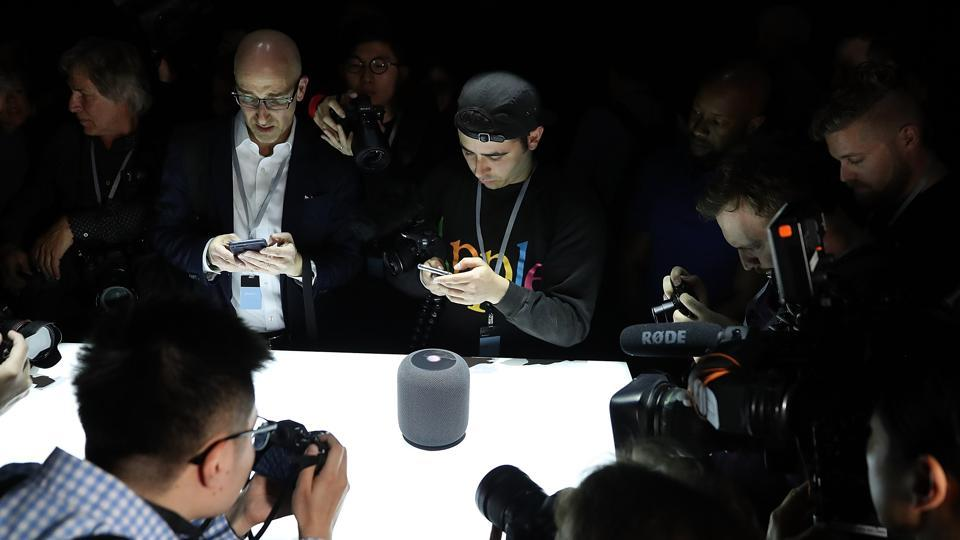 SAN JOSE, CA - JUNE 05: A prototype of Apple's new HomePod is displayed during the 2017 Apple Worldwide Developer Conference (WWDC) at the San Jose Convention Center on June 5, 2017 in San Jose, California.
