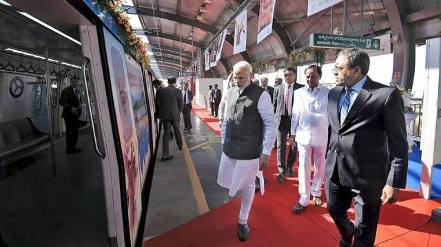 Image result for Narendra Modi inaugurates Hyderabad metro rail
