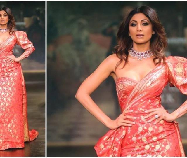 Shilpa Shetty Kundra Walking The Ramp At India Couture Week  In A Monisha Jaising Creation Ians File Photo
