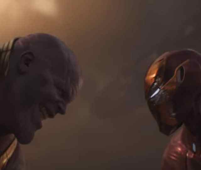 Thanos And Iron Man Battle It Out On Titan In A Still From Avengers Infinity War