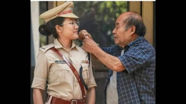 The image shows Deputy SP Rattana Ngaseppam of Imphal, Manipur  and her father.