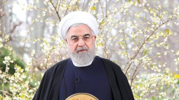 Iranian President Hassan Rouhani delivers a televised speech.