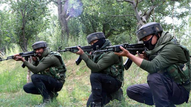 As the forces were conducting the search, terrorists  fired upon them.