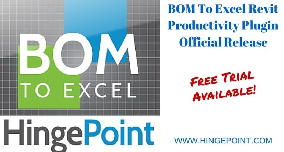 """BOM To Excel"" Revit Productivity Plugin Available in the Autodesk App Store"