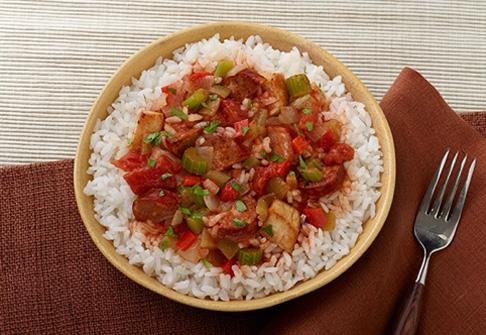 image of chicken and chorizo rice