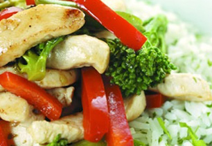 Chicken and Vegetable Stir Fry with Rice