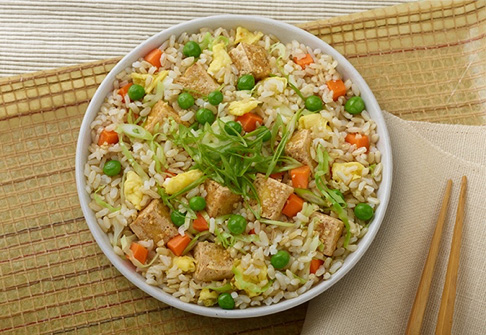 image of garlic veggie tofu rice