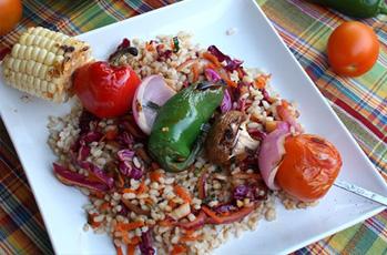image of summer veggie rice kabob