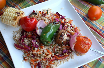 image of summer veggie rice kabob