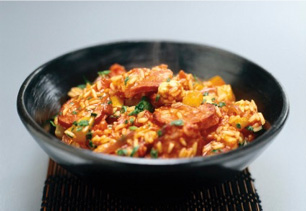 an image of One Pot Chicken and Chorizo Jambalaya