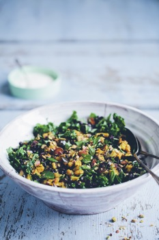 Gluten-free pilaf recipe with black rice, kale and eggplant.