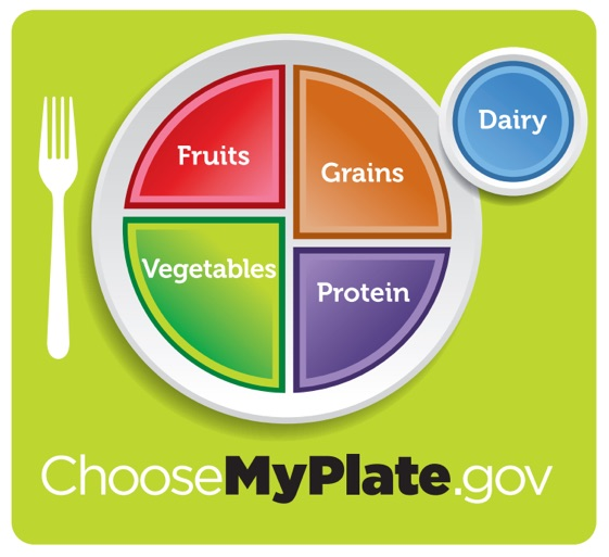 Green background with white circle plate and color pie triangle shapes for each percentage of food group: fruits, grains, vegetables, protein, grains, dairy