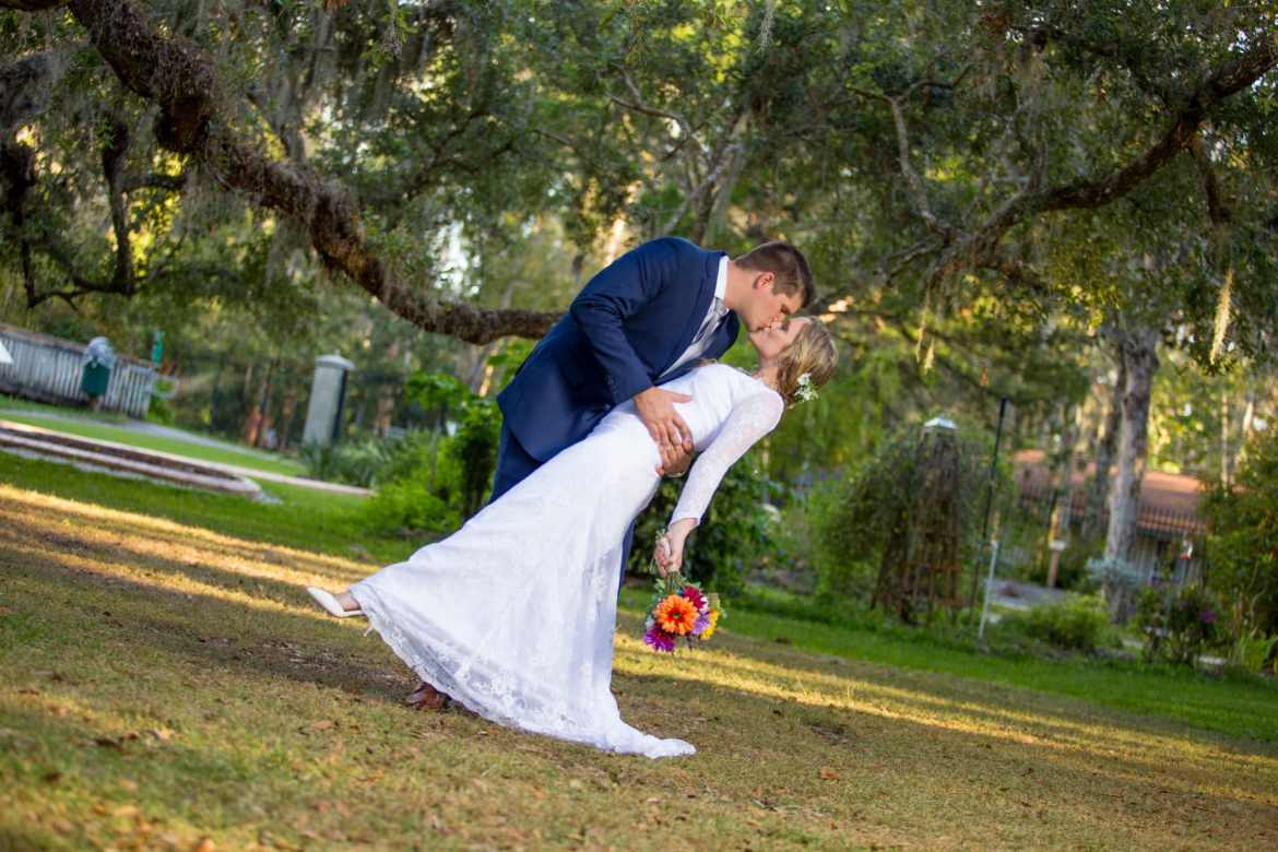 A formal wedding portrait at sugar Mill Gardens in port Orange Florida