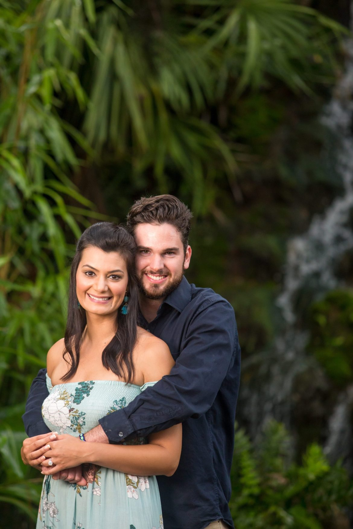 Ormond Beach engagement photography in the garden